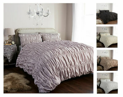 Luxury Style Designer Ruched Duvet Quilt Cover Bedding Set With Pillow Cases
