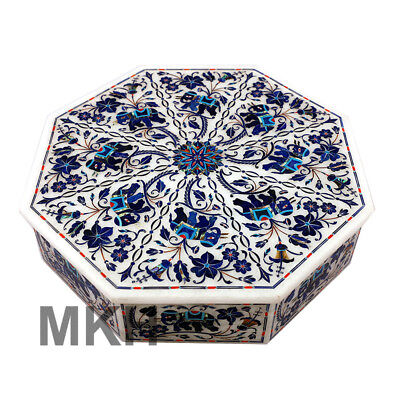 Octagon Marble Box Vintage Inlay Jewelry Boxes Handmade Gem Stone Elephant Art