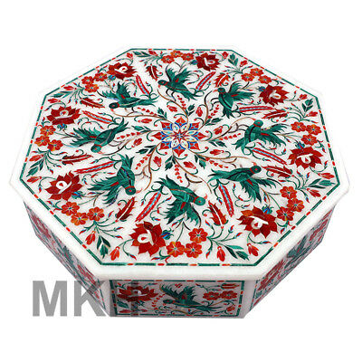 Trinket Octagon Marble Box Vintage Inlay Jewelry Boxes Handmade Gem Stone Art