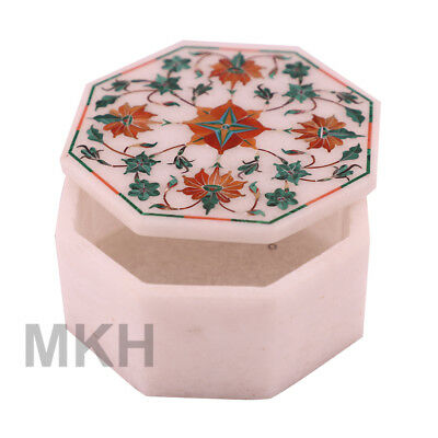 Mosaic Vintage Marble Jewellery Box Octagon Handmade Inlay Trinket Jewelry Boxes