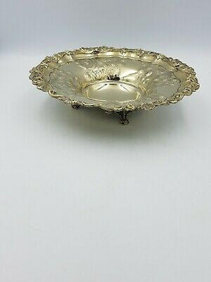Antique Silver Plated Four Footed Dish Bowl Rococo Baluster Form Embossed Floral