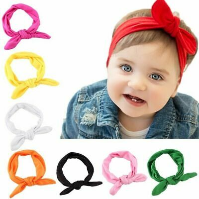 Baby Girls Bow Knot Rabbit Ear Hairbands Turban Head-wear Girl Kids Accessory