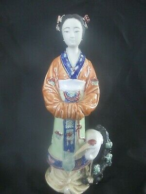 Vintage Chinese Ceramic Porcelain Figurine Geisha w/Egret - Colorful
