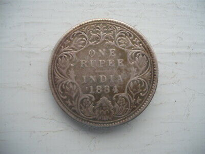 Qv  India 1884 One Rupee Silver Coin As Brooch Fine Condition Rarer Look