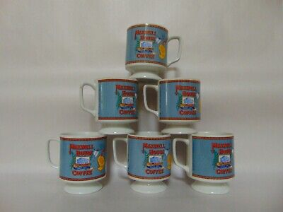 Maxwell House - 6 Footed Porcelain Coffee Cups - 70'S