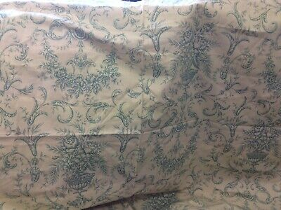 Antique Vintage Style French Toile de Jouy Cotton Fabric Claudia Green Romantic