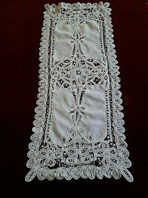 N15 Ancien napperon chemin de table dentelle de Luxeuil 34x81cm Old lace doily