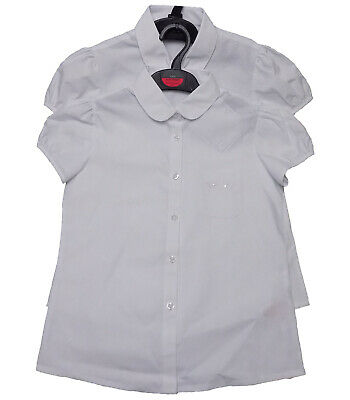 EX M-S Girls school blouse white twin pack cap sleeve UK