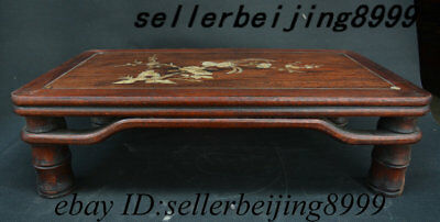"20"" Old China Huali Wood Shell Flower Bird Tea Table Tea-Things Teapoy End table"