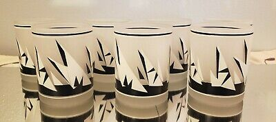 Vintage Georges Briard Abstract Triangle Sail Frosted Glasses Set of 6