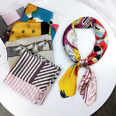Neck Tie Hairband Wraps Silk Feel Satin Floral Print Square Scarf Small Scarves
