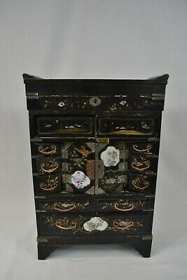 Antique Japanese Lacquered Jewellery Table Cabinet