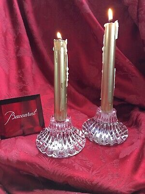 Near FLAWLESS Exquisite Pair BACCARAT Crystal Massena CANDLESTICK CANDLE HOLDERS