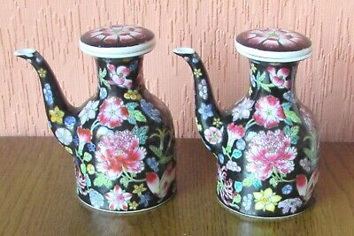 Matching Pair of Small Chinese Liquid Dispensers with Multi-coloured Flower Head