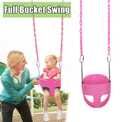 Heavy-Duty Kids Full Bucket Baby Toddler Swing Seat Outdoor Play Fun w/Chains