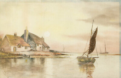 A. Cox - Signed Early 20th Century Watercolour, House in an Estuary Landscape