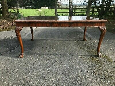 V. Large Antique Dining Table With Heavily Carved Cabriole Legs & Lions Paw Feet