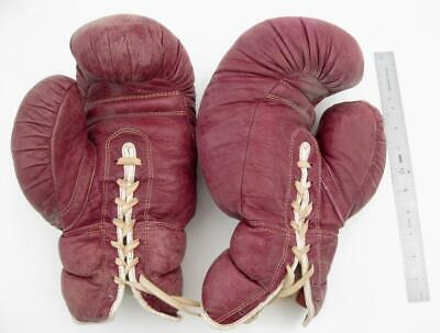 Vintage Antique Leather Olympic Sport Goods Boxing Gloves Large Great Decor