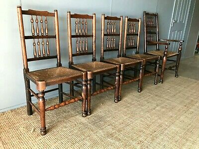 19th Century Set of 4x Lancashire Rush Seat Spindle Back Kitchen Dining Chairs