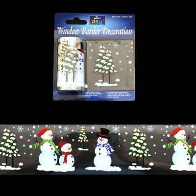 2m Window Border Cling Sticker Decal ICY BLUE SNOWFLAKE Vintage Xmas Decoration