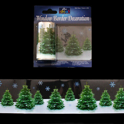 2m Window Border Cling Sticker Decal REAL TREES Vintage Christmas Decoration