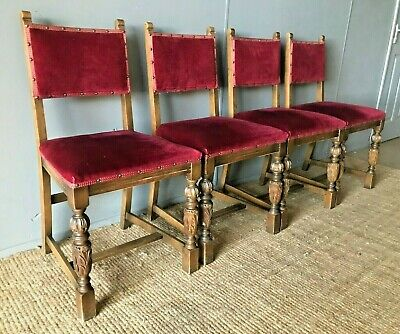 Set of 4 x Antique Vintage Arts & Crafts Solid Oak & Upholstered Dining Chairs