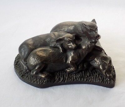 Vintage Group Of Four Pigs In A Heap.  Bronzed Sculpture. Nice Patina. Unusual