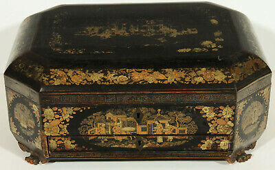 19th Century Chinese Lacquer Sewing or Work Box