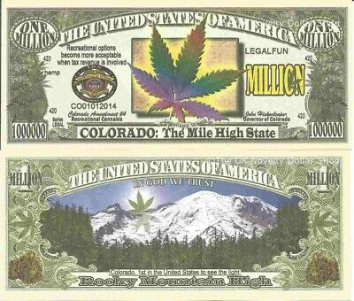 Colorado The Mile High State Recreational Cannabis Million Dollar Bills x 2 Weed
