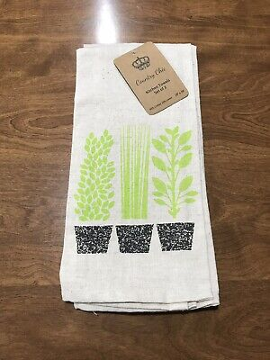 Herbs Plants Kitchen Hand Towel Set Of 2 Towels Country Chic Cotton Linen Blend