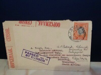 KUT  WW2 POW cover to South Africa