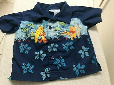 "DISNEY Boys Size 12 Months ""POOH & tIGGER THE TIGER"" TROPICAL SUMMER SS SHIRT"
