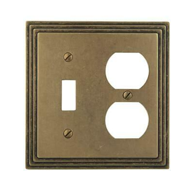 Amerelle Steps 1 Toggle 1 Duplex Wall Plate - Rustic Brass