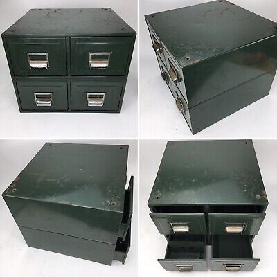 4 drawer green metal steel desktop  home office filing index cabinet vintage
