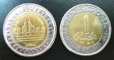 2019 Egypt ONE Pound  80 years on the Ministry of Solidarity BI-METALLIC UNC NEW