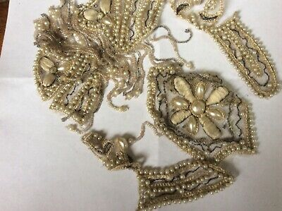 Antique Gorgeous Pearl Beaded Collar or Dress Decor