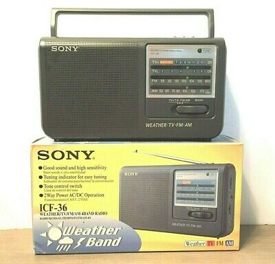 Sony ICF-36 Weather / TV / FM / AM 4 Band Portable Radio With Box Tested VGC