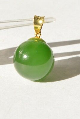 Vintage 14K 585 Gold Natural Genuine Green Jade Jadeite Nephrite Ball Pendant
