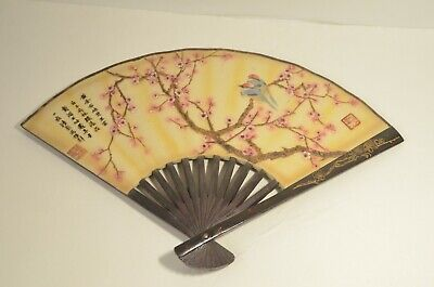 Vintage Chinese Asian Oriental Wall Hanging Fan with Birds Plum Blossom Scene