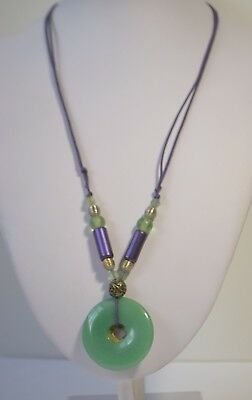 Vintage Natural Jadeite Jade Donut Qianlong Mark Brass Frost Glass Necklace