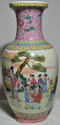 """14"""" Antique Old Chinese Asian Handmade Hand Painted Porcelain Vase! Rare!"""