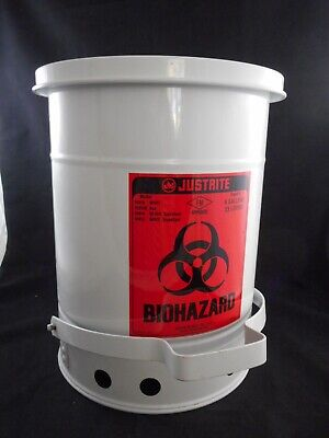 "JUSTRITE Metal 6 Gallon Biohazard Waste Can Container White 15 x 15 x 17"" 05910"
