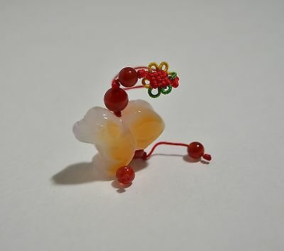 Vintage Natural Hand Carved White Red Yellow Jade Jadeite Dog Cord Pendant