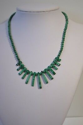 """Vintage Natural Genuine Green Malachite Gold Plated Necklace 17"""""""