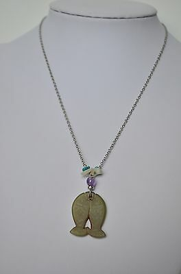 Vintage Sterling Silver 925 Natural Jade Fish Amethyst MOP Turquoise Necklace