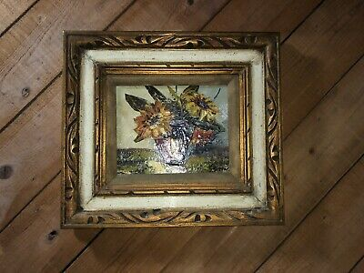 Vintage Impressionist Oil Painting On Board Framed Of Sun Flowers Signed!