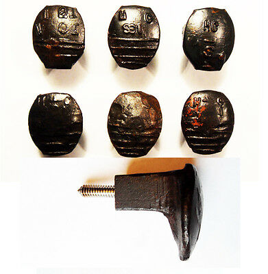 6 Easy Screw Railroad Spike Knobs Door Pulls Cupboard Old Antique Vintage Rustic
