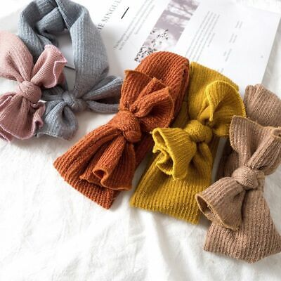 Baby Girl Knitted Bow Headbands Hairband Turban Newborn Infant Toddler Accessory