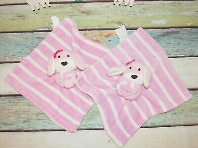 Buddies SL Home Puppy Dog Bunny Pink White Striped Security Blanket Lovey LOT 2