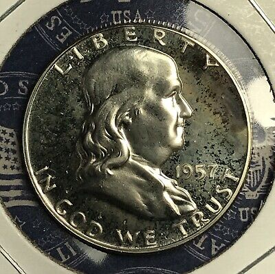 1957 Franklin Silver Half Dollar Proof. Collector Coin For Set Or Collection